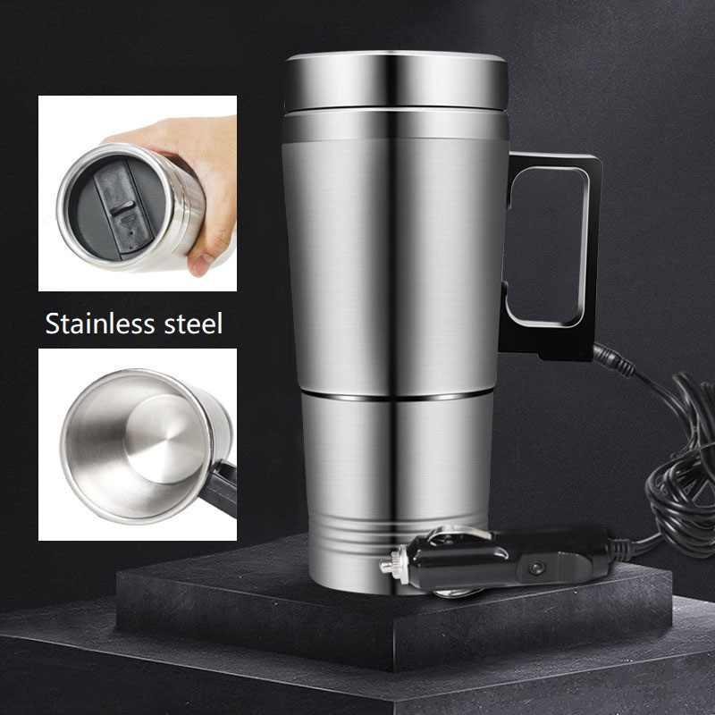 300ml 12 v/24 v carro baseado aquecimento de aço inoxidável copo garrafa térmica chaleira viagem café chá leite pote aquecido caneca do motor aquecedor de água quente