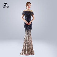 Skyyue Evening Dress Off The Shoulder Sequin Women Party Dresses Short Sleeve Robe De Soiree 2019 Boat Neck Formal Gowns C098 short sleeve off shoulder blouses for kids tulle polyester sequin party dresses