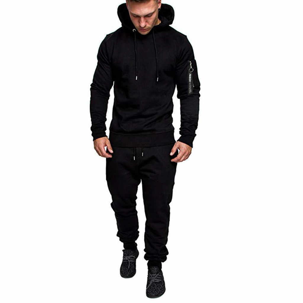 JAYCOSIN 2019 nuevo camuflaje impreso hombres conjunto casual Patchwork chaqueta hombres 2 piezas chándal ropa deportiva sudadera pantalones traje