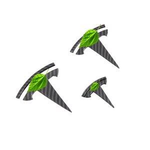 Image 5 - Für Tesla Modell 3 Carbon Faser muster Vorne Hinten T Logo + lenkrad T Logo 3PCS