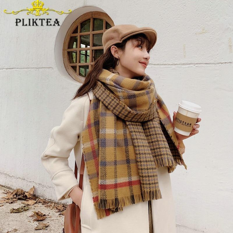 Yellow Plaid Cashmere Scarf Poncho Women's Winter Blanket Scarves Shawl 2019 Female Warm Pashmina Stole