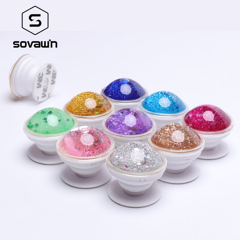 SOVAWIN Phone Accessories 3D Quicksand Phone Holder Expanding Grip Stand For IPhone 2pcs Universal Colorful Liquid Glitter Stand