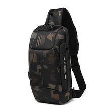 Cabestrillo impermeable reflectante para hombre, bolsos de pecho, bloqueo antirrobo, interfaz de carga USB, bandolera de hombro