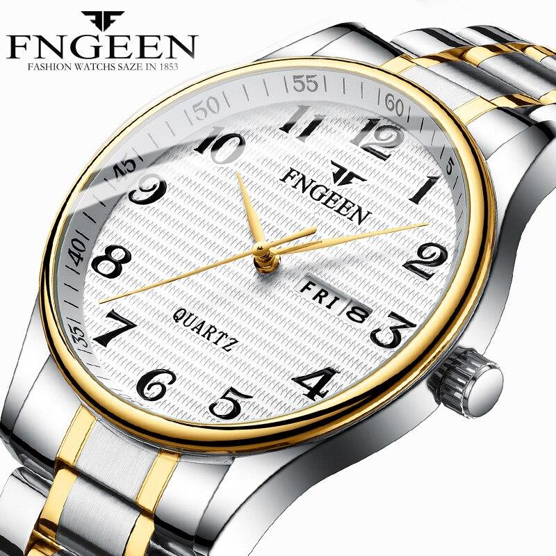 Brand Mens Watches For Men Stainless Steel Waterproof Man Watch Quartz Sport Watches Digital Date Week Male Clock Reloj Hombre