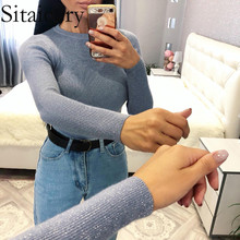 Sitaicery New 2020 Spring Slim Half-neck Sweater Female Bright Silk Knitted Sweater Long Sleeve Bottoming Sweater Jumpers Women sweater women 2020 spring new fashion printed sequined round neck drop shoulder long sleeves short knitted sweater female m l