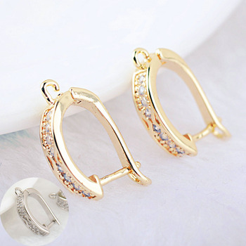 4PCS 20x11MM 24K Gold Color Brass with Zircon Round Earrings Hoop Earring Clip High Quality DIY Jewelry Making Findings цена 2017