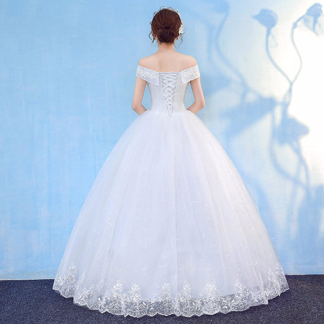 HMHS-090#White Boat Neck Bride Wedding Dress Ball Gown Lace Up Wholesale Party Dresses Luxury Sequins Free delivery some country 2