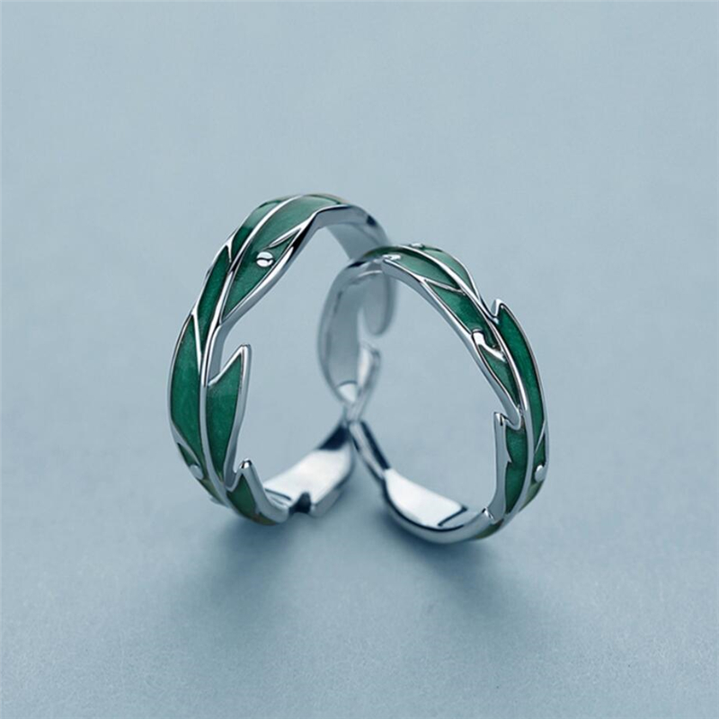 Sole Memory Rainforest Plantain Leaves Green Cool Sweet Romantic 925 Sterling Silver Female Resizable Opening Rings SRI414