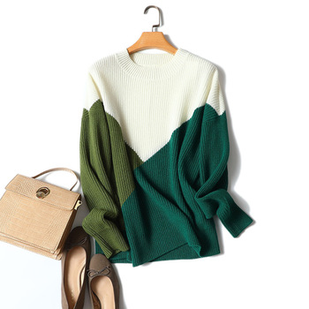 Shuchan O-Neck Geometric Women Full Sleeve Sweater 100% Cashmere Knitted Sweaters for Warm and Pullovers