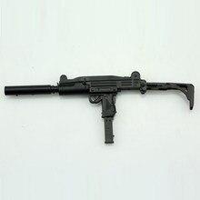 Пластиковый пушка в сборе, масштаб 1:6, UZI Submachine Gun, модель-головоломка для солдата 12 дюймов, военное оружие, строительные блоки, детское распол...