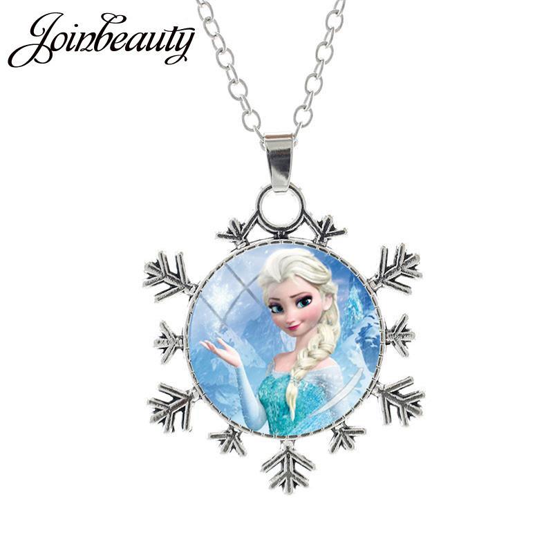 JOINBEAUTY Принцесса Эльза Анна снег кулон в виде королевы Ожерелье Дамы Снежинка Длинная цепочка Ювелирные изделия стекло кабошон для девочек SQ03 - Окраска металла: SQ05-25