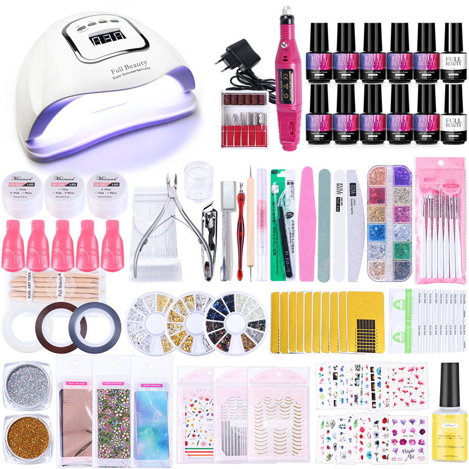 Super Manicure Set Nail UV LED Lamp Dryer With 10/8pcs Gel Nail Polish Set Soak Off Electric Drill Machine Nail Art Tools TR1582
