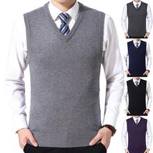 2021 New Arrival Solid Color Sweater Vest Men Casual Winter Solid Color V Neck Sleeveless Knitted Woolen Plus Size Vest