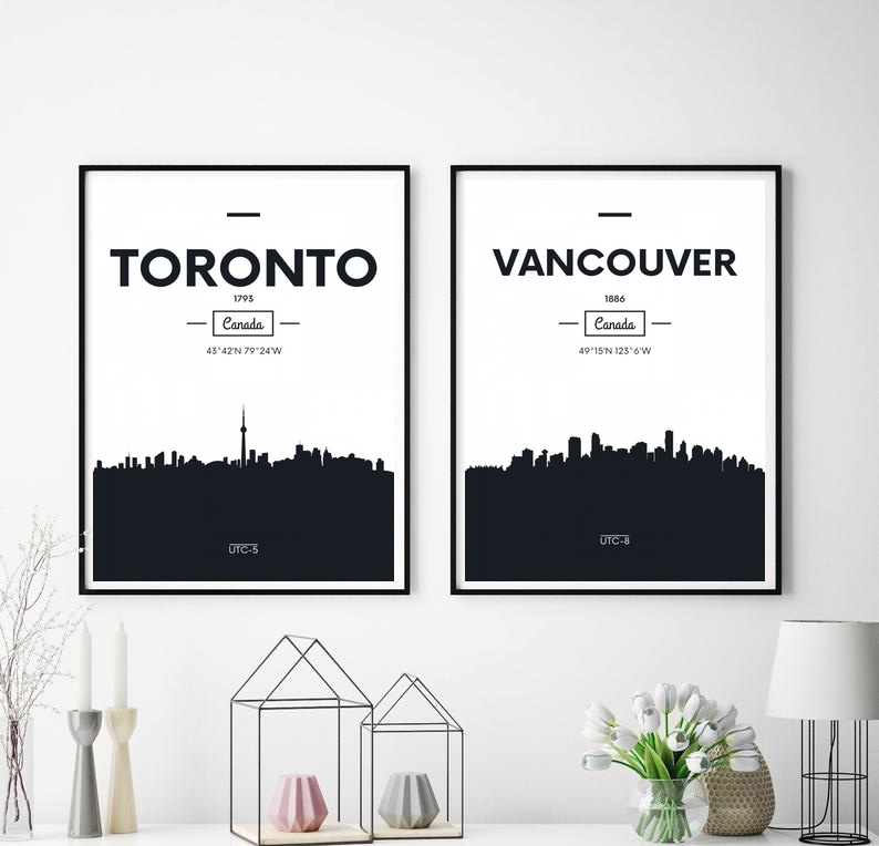 Canada Toronto And Vancouver City Map