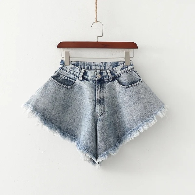Denim Shorts Summer New Loose Wide Leg Denim Shorts Ripped Tasseled Retro Frayed Oversized Flared Culottes Fashion Streetwear 1