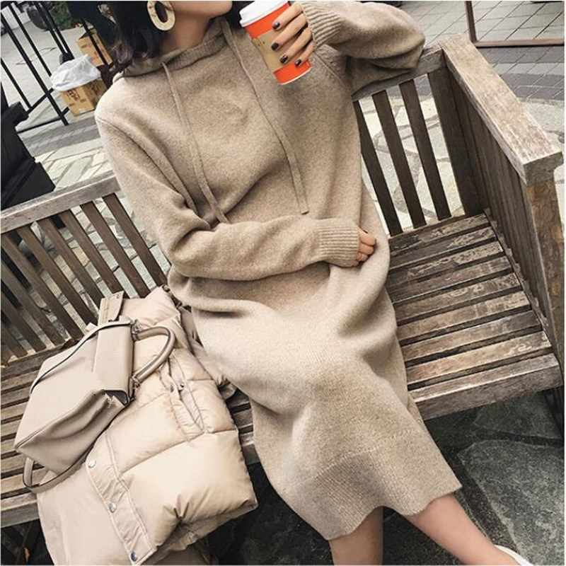 Autumn Winter Warm Sweater Dress Women Long Sleeve Warm Hooded Knitted Dress Casual Solid Long Dress