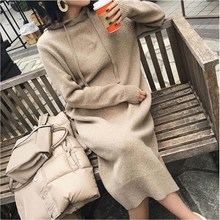 Autumn Winter Warm Sweater Dress Women Long Sleeve Warm Hooded Knitted Dress Casual Solid Long Dress цены