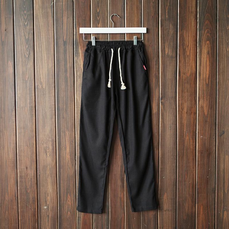 New Mens Casual Loose Pants Beach Yoga Elasticated Solid Baggy Straight Casual Broek Natuurlijke Katoenen Linnen Trousers