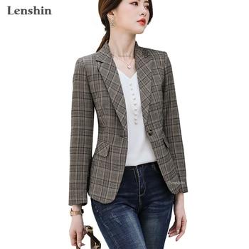Lenshin Keep Slim Plaid Jacket with Two Pockets Long sleeve Women Elegant Blazer Fashion Work Wear Office Lady Coat Outwear