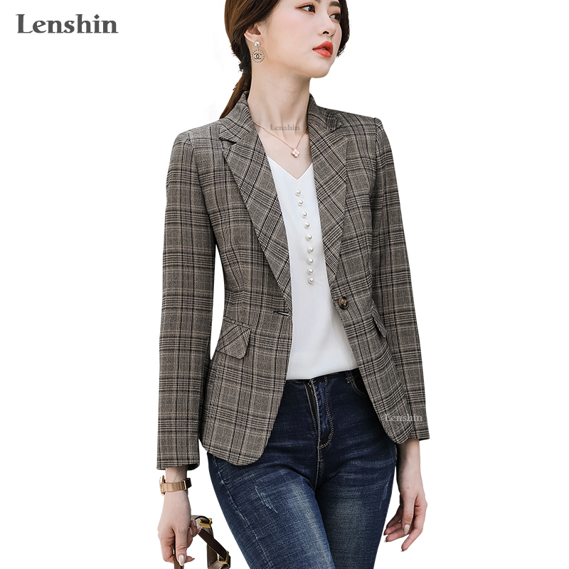 Lenshin Keep Slim Plaid Jacket With Two Pockets Long Sleeve Women Elegant Blazer Fashion Work Wear Office Lady Coat Outwear