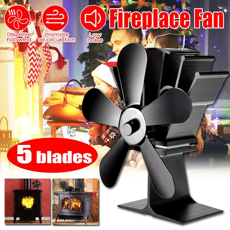 5Blades Silent Stove Fan Fireplace Fire Heat Powered Saving Winter Christmas New