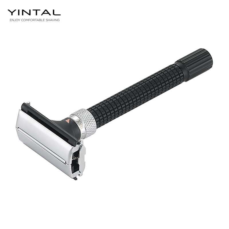 YINTAL Adjustable Butterfly Open Double Edge Safety Razor Black Silver Color Matching Fashion Design Shaver