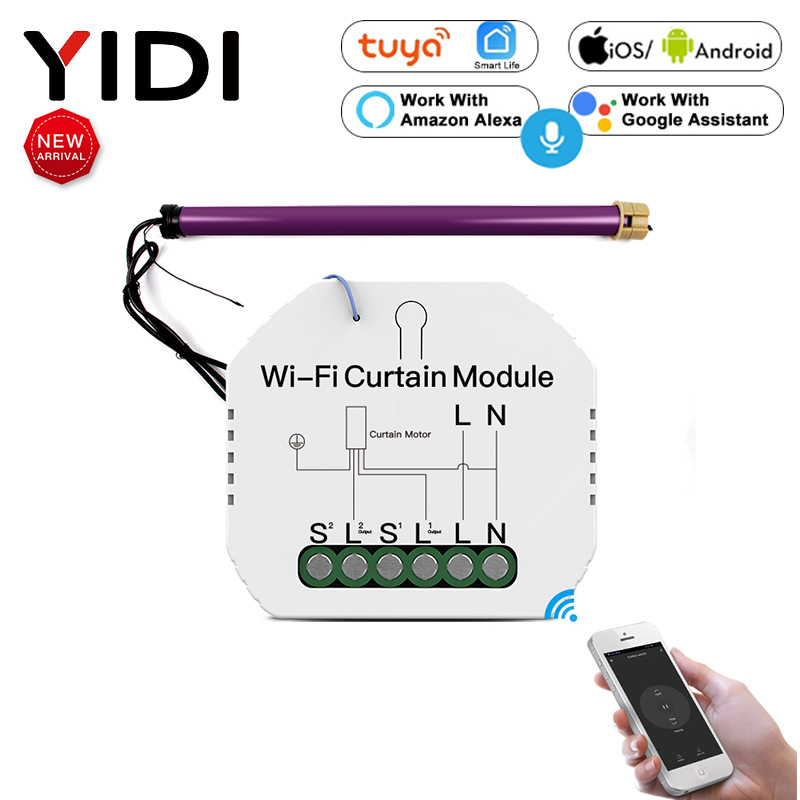 Tuya WiFi Mini Smart Curtain Switch Module Roller Blinds Shutter Motor Smart Life APP Remote Control Work With Alexa Google Home