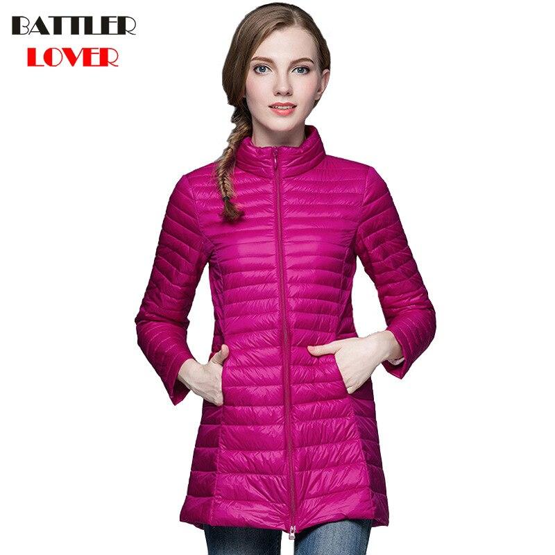 2019 Winter Women Ultra Light Down Jacket 90% Duck Down Long Jackets Long Sleeve Slim Coats Womens Parka Female Portabl Outwear