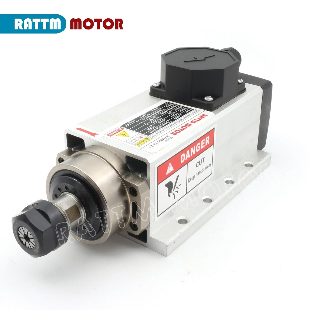 Image 2 - Square 2.2kw Quanlity Air cooled spindle motor ER20 runout off 0.01mm,220V,4 Ceramic bearing for CNC Router Engraving MillingMachine Tool Spindle   -