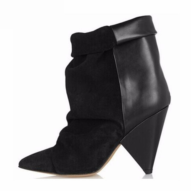 Black Sexy Ankle Boots for Women Spike High Heel Boots Genuine Leather Autumn Winter Botas Mujer Wedge Shoes Woman