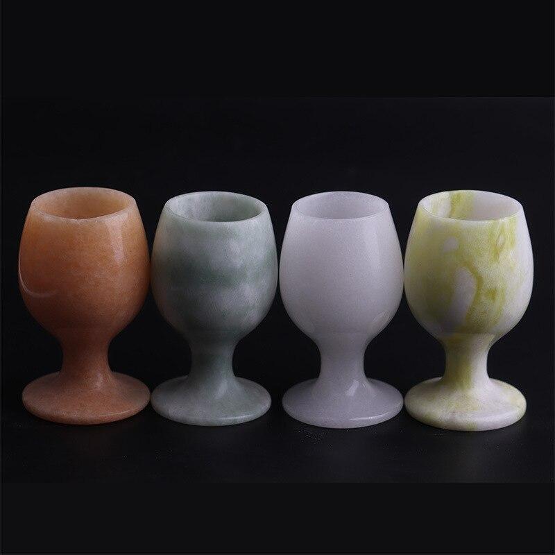 Natural Jade Goblet White Jade Lantian Jade Guizhou Cui Sunset Red Cup Jade Crafts