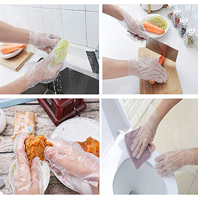 Disposable clear plastic gloves for cleaning in the kitchen