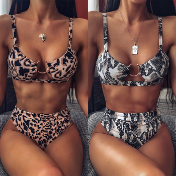 New Sexy High Waist Bikini 2019 Swimwear Women Print Swimsuit Bandeau Push Up Bikini Set Buckle Bathing Suit Beach Wear цена 2017
