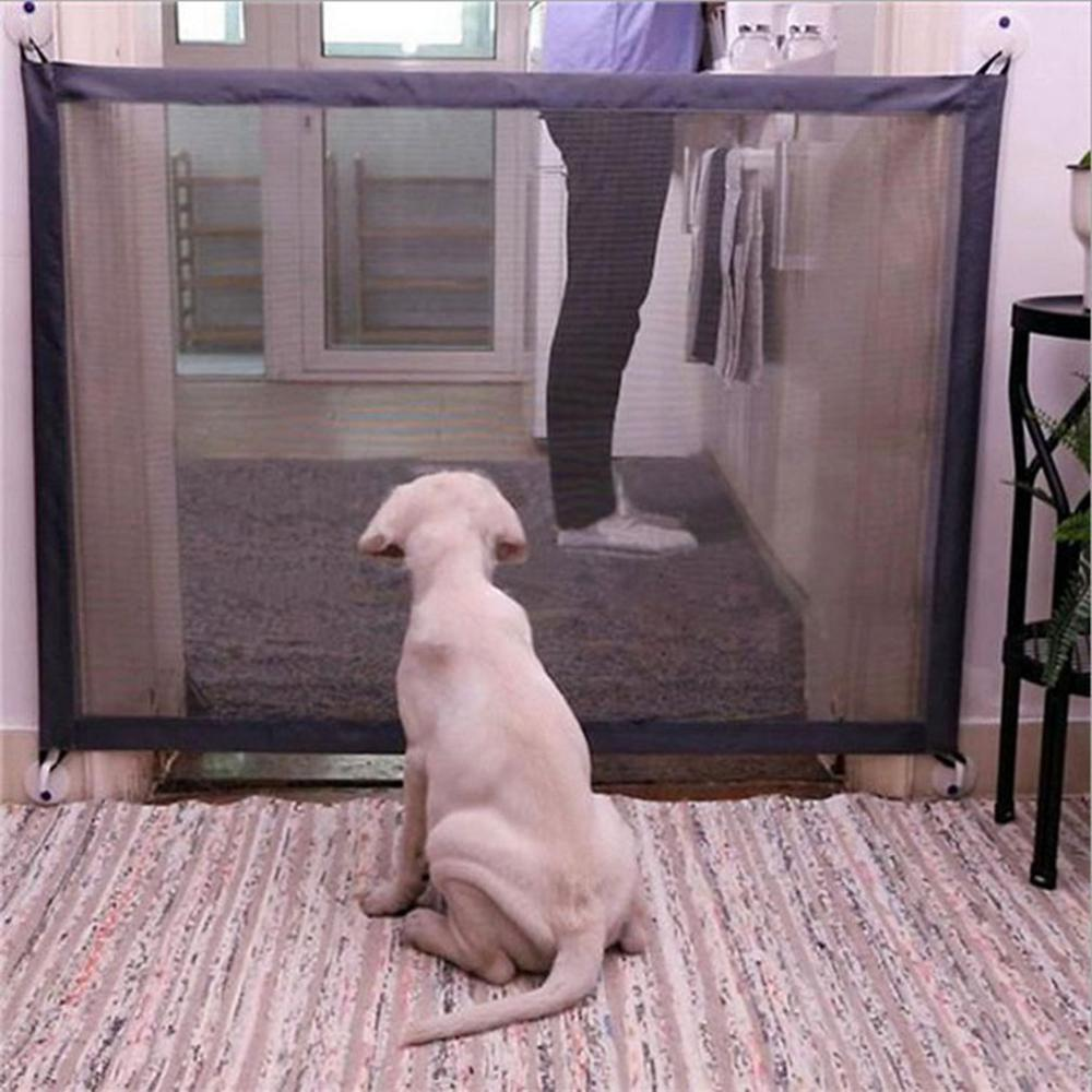 4 Way Pet Cat Dog Flap Door Supply Kitten Lockable Safe Gate w Telescoping Frame