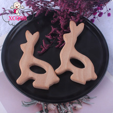 XCQGH 5pcs Beech Wooden Teethers Rabbit Infant Toddler Baby Molar Teething Charm