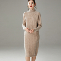 Autumn winter thickened high collar 100% pure wool cashmere sweater women sweater loose lazy over the knee long knitted dress