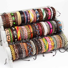 Handmade 50pcs/Lots Black Brown Coffee Mens Womens Vintage Leather Surfer Wrist Cuff Bracelets Jewelry (Size adjustable)