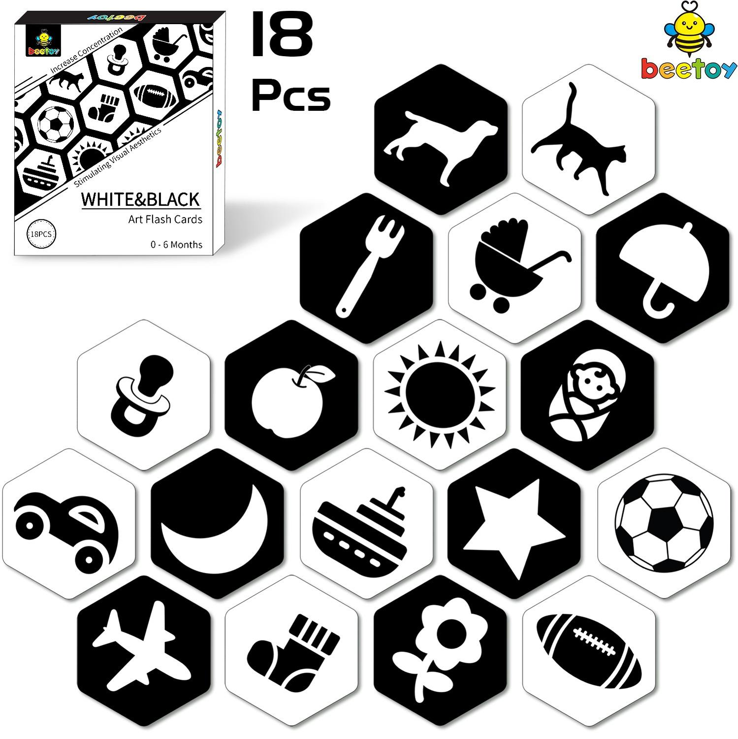 Beetoy Black White Flash Cards For Toddlers, 36 Pattern High Contrast Visual Stimulation Learning Kindergarten Flash Card