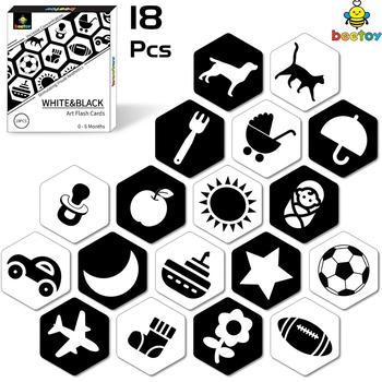 beetoy Black White Flash Cards for Toddlers, 36 Pattern High Contrast Visual Stimulation Learning Kindergarten Flash Card high quality black white flash cards early education card high contrast concentration training flash card for babies 0 6 months