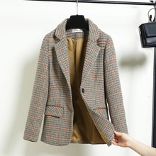 Plaid Brown Korean Ladies Blazer Stylish Casual Loose Suit Jacket Chamaras Mujer Retro Party Women Blazer Large Size MM60NXZ