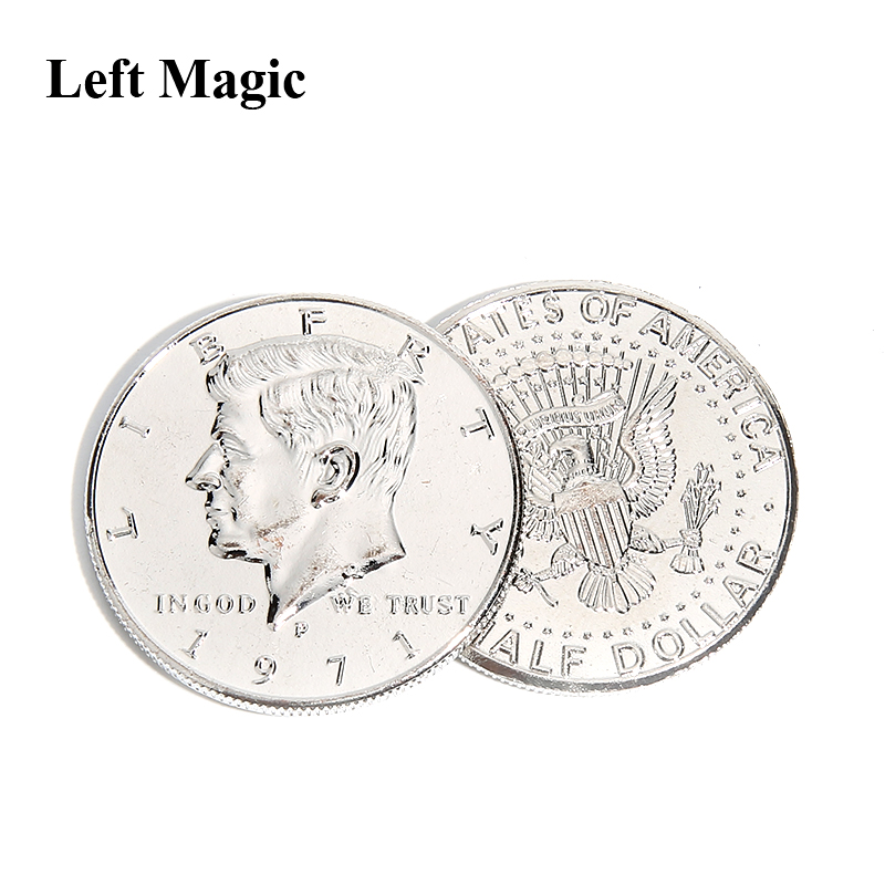 Meio dólar moeda de prata ouro truques de magia moeda truque close-up rua truque prop brinquedo aparecendo/desaparecer ilusão mordida