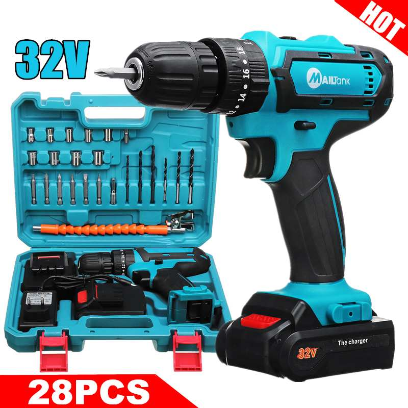 32V Electric Cordless Drill Lithium-Ion Battery Electric Screwdriver Hammer Hand Drill 3 IN1 Power Driver 2 Speed With LED Light