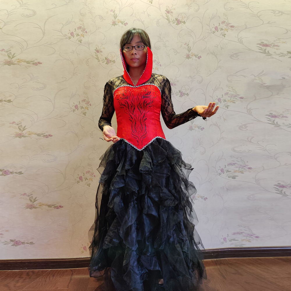 Women Fantasia Red Vampire Queen Costume Adult Ladies Carnival Sexy Witch Performance Cosplay Facy Party Gown Uniform Outfit