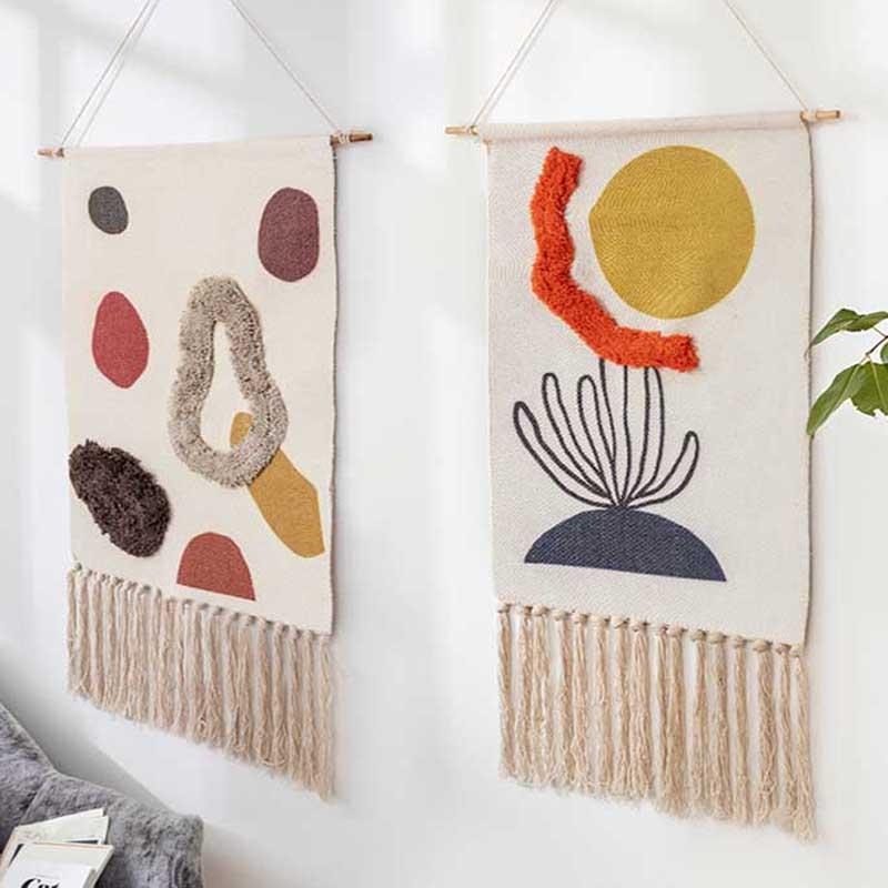 Cotton Linen Tapestry Sew on Plush Hand Knot Tassel Geometric Print Muslim Ornament Wall Hanging Macrame Home Decor Tapestries(China)