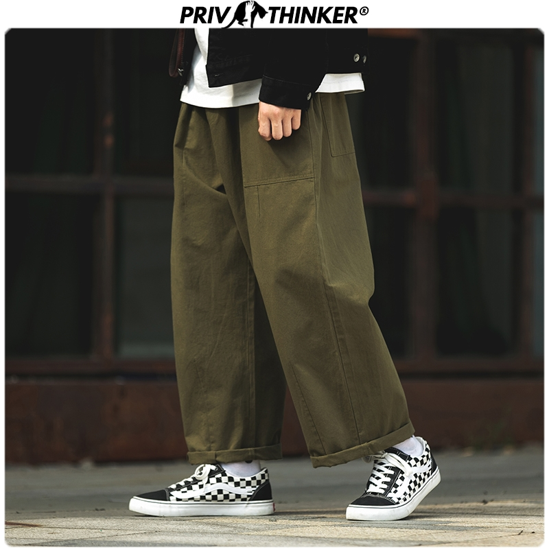 Privathinker Men Japan Safari Style Solid Joggers 2019 Mens Loose Srraight Wide Leg Pants Male Fashion Hip Hop Cargo Pants Black