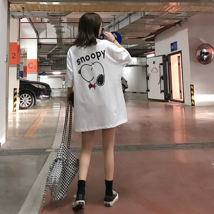 2019 Summer New Style Versatile Cute Fashion Snoopy Puppy Printed Loose-Fit Short Sleeve T-shirt Fashion Casual Tops