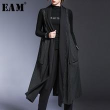Loose Women Sleeveless Fit-Vest Spring Black Autumn Long Big-Size EAM Fashion New