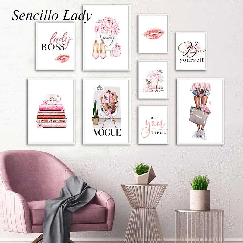Moda kız duvar sanatı tuval yağlıboya parfüm kitap dudaklar Vogue makyaj posteri pembe çiçek baskı resim güzellik odası salonu dekor