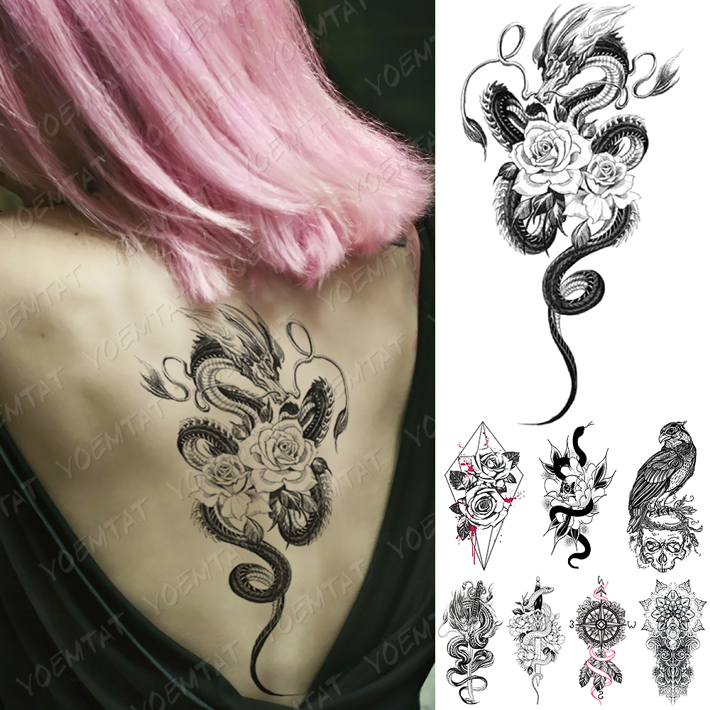 Waterproof Temporary Tattoo Sticker Snake Dragon Rose Flower Flash Tattoos Eagle Skull Body Art Arm Fake Sleeve Tatoo Women Men