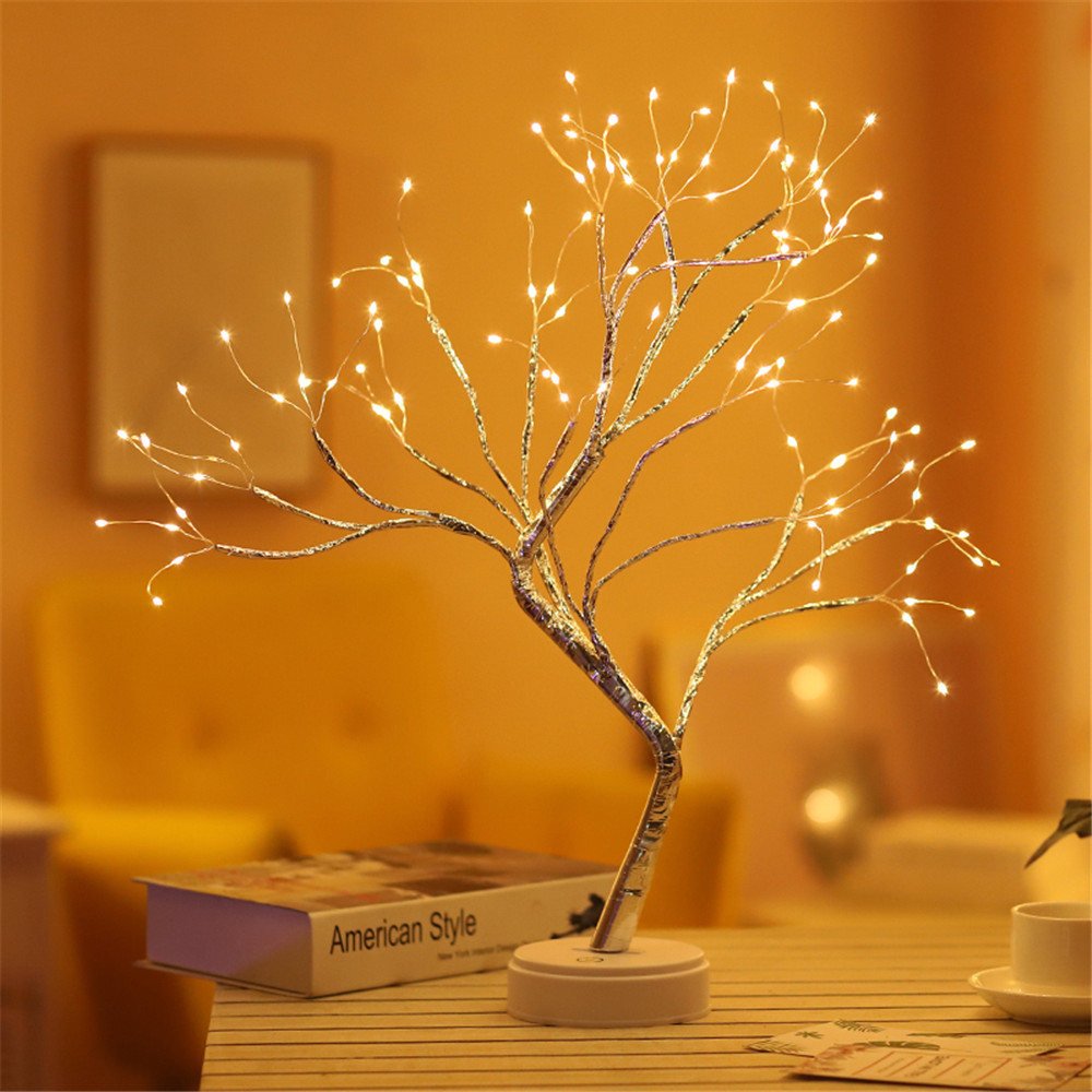 Copper wire Christmas Fire Tree Night light 108 LED USB 3D Table Lamp for  Home Holiday bedroom indoor kids bar Decor fairy light|LED Night Lights| -  AliExpress